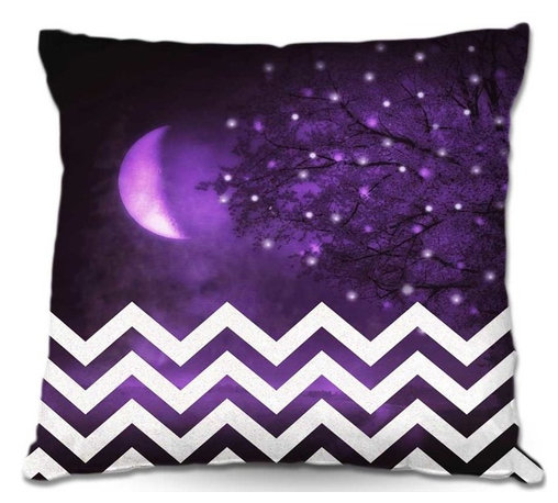 DiaNoche Designs - Pillow Woven Poplin by Monika Strigels Purple Moon Chevron - Toss this decorative pillow on any bed, sofa or chair, and add personality to your chic and stylish decor. Lay your head against your new art and relax! Made of woven Poly-Poplin.  Includes a cushy supportive pillow insert, zipped inside. Dye Sublimation printing adheres the ink to the material for long life and durability. Double Sided Print, Machine Washable, Product may vary slightly from image.