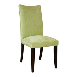 Standard Furniture - Standard Furniture La Jolla Parson's Chair in Green Velvet (Set of 2) - Add a taste of contemporary sophistication to your dining area with a pair of elegant dining chairs. Cherry color legs. Semi PU chairs are available in black or brown and velvet chairs are available in taupe, red, spa, green, and yellow colors.