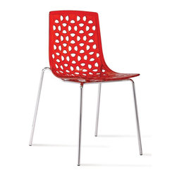 Aeon Furniture - Modern Chair in Red - Set of 2 - Set of 2. Includes hardware and assembly instructions. Clear polycarbonate seat and back with an intricate leaf life design. Sturdy chrome steel wire sled base. Non marking plastic caps protect floor. Stacks up to 10 high. Warranty: One year limited. Made from polycarbonate and chromed steel. Clear finish. Assembly required. 20 in. W x 18 in. D x 32 in. H (12 lbs.)Dakota chairs are perfectly stylish while maintaining true functionality in form. These chairs are suitable for both personal as well as commercial use.