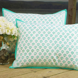 Attiser - Sea Green Standard Sham - Seaside Savvy pillow cover, a throw pillow case that seems tropically enchanted. Accented in turquoise, it is a decorative beauty in aqua. Hand Block Printed from Attiser