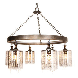 Post Modern Iron and 6 Crystal Clear Glass Shades Chandelier -