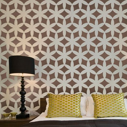 Home Decor Wall Stencils - Home Decor Wall Stencil. Japanese-inspired stencil Kagami. This allover stencil was inspired by traditional Japanese kimono patterns of Edo period. Try it for your next DIY wall painting project! This modern design will look stunning stenciled on you accent wall.