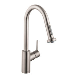 Hansgrohe - Hansgrohe 14877801 Talis S 2 Kitchen Faucet w/ Pull Down 2 Sprayer in Steel Opti - Kitchen Faucet w/ Pull Down 2 Sprayer in Steel Optik belongs to Kitchen Collection by Hansgrohe In homes today, theres a place undergoing a radical transformation of uncompromising style the kitchen. This is the second most occupied place in modern dwellings. Hangrohes Talis S Prep kitchen faucet offers remarkable functionality with individual personality and style. Innovative features such as the M2 velvety smooth ceramic cartridge valve, the quiet, nylon pull-out hose and the ergonomic, two-function spray head make this the top choice in faucets. The modern design of the Talis S Prep kitchen faucet coordinates flawlessly with any kitchen decor. The Talis S Prep's solid brass construction is finished with a steel optik finish. The improved handle design prevents interference with the backsplash while the faucet's high spout and pull-down spray are perfect for cleaning large cookware, preparing food and cleaning.  Faucet (1)