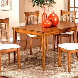 Hillsdale - Rectangular Table Set w 4 Chairs in Oak - Bay - Add organic appeal to your home's decor with the addition of this five-piece dining set, featuring a rectangular table and four upholstered side chairs with striking bamboo look backs for dynamic visual interest. The set is made of wood and is available in your choice of finishes. For residential use. Set includes 1 Table and 4 Chairs. Made from hardwoods. Pictured in Oak. 60 in. D x 36 in. W. Chair: 17 in. W x 18 in. D x 38 in. HFinished in classic oak, our Bayberry collection combines the clean lines of a transitional design with the unique addition of a bamboo effect in the chair back. The chairs have a cream colored fabric seat. The rectangular matching tables claims their own fabulous features. Made from hardwoods, this group is composed of both solids and climate controlled wood composites to prevent cracking and splitting from changes in temperature or humidity.