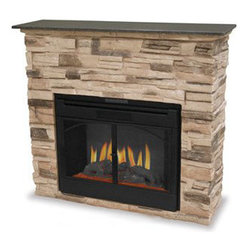 """Uniflame - Uniflame Stacked Stone Electric Fireplace - EF700SP - The Uniflame Stacked Stone Electric Fireplace provides a lot of """"wow"""" wherever it is installed. Its reasonable dimensions and weight make it a good choice for almost any room in the home or even the office. It is a wall fireplace constructed of unique and durable faux stone (though the granite top is actual stone). This contemporary fireplace has all of the features of the """"real thing"""" without the need for venting, construction, or gas lines. Instead, it just plugs into a 120v outlet and begins providing realistic flames and supplemental heat. This heater comes equipped with very realistic flames that include glowing embers and formed logs. The flames have adjustable intensities and can be operated with or without the heating unit turned on."""