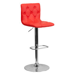 Flash Furniture - Contemporary Tufted Red Vinyl Adjustable Height Bar Stool with Chrome Base - With its buttoned and tufted detailing, this adjustable height bar stool will make a lovely contemporary accent to your kitchen, dining, or bar area. The height adjustable swivel seat adjusts from counter to bar height with the handle located below the seat. The base and footrest have a chrome finish to complement the chair's modern design.