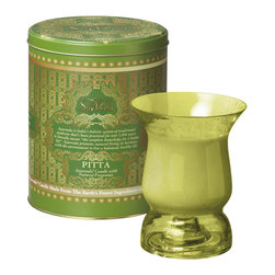 """Everybody's Ayurveda - Pitta Multi Purpose Ayurvedic Candle in Hurricane - Green - Our Pitta fragrance is based on ancient """" healing"""" recipes to balance a Pitta dosha. Once the candle is enjoyed, fill the vessel to remove soy with warm soapy water to remove the candle's sustainer. Gently wipe clean. The candle's holder turns into a candle holder after use. Inverted, the vessel accomodates a taper, tea light or pillar candle. Re-purposing the candle's vessel helps to reduce post-consumer waste. Our Pitta candle comes packaged in a keepsake tin."""