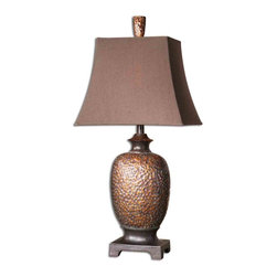 Uttermost - Amarion Bronze Table Lamp - Accent your Mediterranean or traditional decor with this rustic bronze table lamp. An elegant urn shape, distressed bronze leaf finish and brown linen bell shade make this lamp a must have for your fireside chair or bedside table.