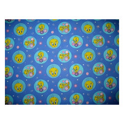 SheetWorld - SheetWorld Fitted Crib / Toddler Sheet - Tweety - Made in USA - This is a SheetWorld product made from Disney's Tweety printed fabric. These sheets feature fantastic prints of Tweety! SheetWorld sheets are made of 100% cotton at 280 thread count. Safety and durability are of the utmost importance for our USA made sheets. Your baby will be safe as these sheets have elastic around all edges and deep corners to keep the sheet in place. Durable enough to last many years! Size: 28 x 52.