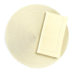 "Origin Crafts - Ivory round woven placemats set of 4 - Ivory Round Woven Placemats Set of 4 Napkins & Placemats sold separately. Sets of four. Durable. Virtually stain resistant. Woven w/polypropylene plastic and cotton thread. Wipe clean w/damp cloth. Dimensions: Placemats - 15"" dia. Napkins - 20"" x 20"" By Tag Ltd. - Tag Ltd. is a supplier of"