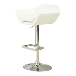 Monarch Specialties - Monarch Specialties Contemporary Swivel Barstool with Hydraulic Lift (Set of 2) - The contemporary design of this 2 piece white bar stool set is no doubt chic, thanks to sleek leather-look upholstery. Their unique symmetrically shaped, bucket seat style are lightly cushioned for your comfort. The sturdy frame and convenient square shaped foot rest are finished in an ever so fashionable chromed metal finish. A full-swivel mechanism and easy-to-use hydraulic lift system will take you to stylish and comfortable dining. What's included: Barstool (can only be purchased in sets of 2).