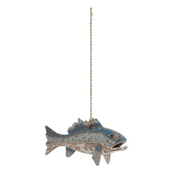 "Benzara - Adorable and Unique Fish Home Decor - Style your home with this one of a kind decor that is sure to make your home look lovely. Made from wood, this decor is a hanging fish dyed in shade of white, light and dark hue of blue and can be hung on ceilings or walls by a long sturdy thread. The patch work on the fish gives out a vintage aura and feel. Add new zing to any corner of your abode with this adorable decor. Your guests and visitors will be very surprised at the sight of this unique home decor.This wooden fish home decor is very easy to clean and durable. It is designed to suit all types of ambience and surroundings. Wrap it up and surprise your near and dear ones who are assured to adore this unique home decor. So wait no more and get one now. This Fish Home Decor measures 24 inch (W) x 3 inch (D) x 9 inch (H); Made from wood; Shades of blue, white and light blue; Dimensions: 25""L x 4""W x 10""H"