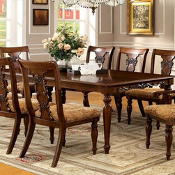 9 PCs. Dining Table Set in Dark Oak Finish - Beautifully carved seat backs and table apron add sophistication to this attractive dining group. Nice Choice if you have a big family.