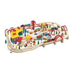 Maxim 145 Piece Wooden Train Set - Give your conductor many options and adventures with the Maxim 145 Piece Wooden Train Set. Complete with tracks, engines, cars, bridges, buildings, animals, and more, your child will spend hours coming up with new paths for their trains to follow. Made from 100% hardwoods and painted in fun, vibrant, and nontoxic colors, this sturdy set is made to stay together and not fall down. It's also compatible with other fine, wooden train sets such as Thomas and Friends, Melissa & Doug, Kidkraft, and more. Additional Features Sturdy design and support structure Made to stay together and not fall down Compatible with many fine, wooden train sets Works with many wooden train accessories Backed by a lifetime guaranteeAbout WoodenTracks.comA small business-based company that has been selling children's wooden train sets and accessories around the world since 1998, WoodenTracks.com is located in Portland, OR. WoodenTracks.com makes sure all of their products are interchangeable and compatible with each other, no matter the brand, so you can build the ideal set for your child. WoodenTracks.com also believes that customer service is as important as their products and strives to make sure their customers are happy and satisfied.