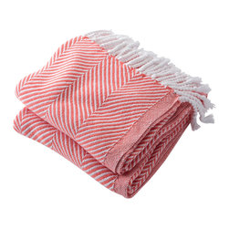 Brahms Mount - Cotton Herringbone Throw Blanket, White and Coral - Cotton throw blanket with hand twisted fringe made in the USA by Brahms Mount of Maine since 1983.