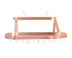 Old Dutch International - Oval Satin Copper Pot Rack with Grid & 24 Hooks - Why waste storage space on your pots and pans when you could stock up on other goodies? This refined rack is perfect for a large kitchen. Your utensils and cookware will be easy to get to and you'll have more room for, well, whatever.