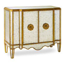 Lotus Gold Eglomise Commode - It may hold a collection of delicate china, finely etched by time and memory. Or a compendium of aged ephemera that chronicle a journey abroad, remembered with longing. Place whatever treasures you will within the Lotus Gold Eglomise Commode, a piece certain to become an heirloom in and of itself. The commode glimmers in antiqued mirror accentuated with two hand-carved Lotus wooden decorations with brass pulls.