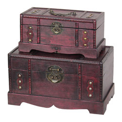 Antique Wooden Trunk, Old Treasure Chest Set of 2 - Decorative suitecase trunk that is great for storage and decoration Great Tressure Box Leather suitcase set of trunks Old Fashioned hardware adds to antique look Decorated with leather in the center of the suitecase to give this antique looking effect. Our warm and welcoming steamer trunk brings back days of old time. Remember how excited you are when you were a little kid to look into your grandma's old chest, our decorative trunks will bring back those memories and help you create some new ones too. Our hope chest boxes are all handcrafted and tailored to enhance the existing decor of any room in the home. Great to use for your very own treasure chest!