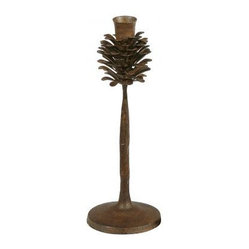 Winward Designs - Metal Pinecone Candlestick - For a pop of rustic charm, you can't go wrong with this elegant pinecone candlestick. Place it on your dining table or above the fireplace with a simple taper. It's a seasonal piece that works from fall through winter.