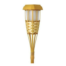 Coleman Cable - Bamboo Party Torch LED - Party Torch LED Specs: 2 amber LEDs flicker to simulate the flicker of a candle. Package Specs: 1 torch per color box. Battery Specs: 1 x 400mAh AA NiCd rechargeable battery included. Finish/Lens Specs: Golden plastic construction looks like real bamboo. Additional Specs: Runs up to 8 hours on a full charge