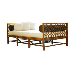 Modern Maru Daybed - What conveys the lazy summer days ahead better than a tortoiseshell faux bamboo daybed with ivory upholstery?