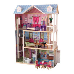 KidKraft - My Dreamy Dollhouse, Sturdy Mansion by Kidkraft - It's time to play house! My Dreamy Dollhouse is packed with fun details like a gliding elevator and furniture pieces that make sounds at the push of a button. This sturdy mansion was designed to withstand years of use and makes a great gift for any young girl.