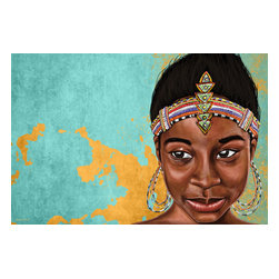 """Maxwell Dickson - Maxwell Dickson """"Princess Mauhbohn""""  African Graffiti Pop Art Canvas Print Artwo - We use museum grade archival canvas and ink that is resistant to fading and scratches. All artwork is designed and manufactured at our studio in Downtown, Los Angeles and comes stretched on 1.5 inch stretcher bars. Archival quality canvas print will last over 150 years without fading. Canvas reproduction comes in different sizes. Gallery-wrapped style: the entire print is wrapped around 1.5 inch thick wooden frame. We use the highest quality pine wood available."""