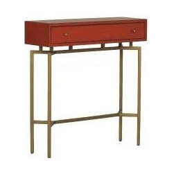 Ming Console - This unique console sits atop an elegant base on a perch that breaks with tradition. It's contemporary and has a touch of Asian flair.