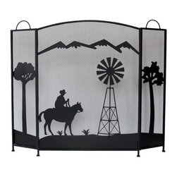 Zeckos - Black Metal Cowboy and Windmill Silhouette Fireplace Screen - Not only functional, fireplace screens can be a major statement about your room's decor and your personality. Fireplaces are great, but set this 3-panel Western style cowboy and windmill in front of it, and it can transform the room (or cabin) into something beautiful. Crafted from metal, it has a highly sought weathered black enamel finish with a raised and textured design featuring a wild bear and woodsy trees. It will make quite a statement and accommodates most fireplaces at 30.5 inches (77 cm) high, and the center panel is 25.25 inches (64 cm) wide with each side panel measuring 12 inches (30 cm) wide, and folds flat so you can easily store or move it. This decorative fireplace screen would make a very welcomed housewarming gift sure to be enjoyed for many years.