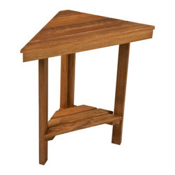 "Teakworks4u - Teak Mini Corner Bench (17"" Face x 12"" Sides) - The Mini Corner Bench is handcrafted in the USA and offers a variety of uses without taking up lots of space. It's perfect for shaving, soaping, or storing your bathroom necessities. It's also a great bench that can be used anywhere in the house."
