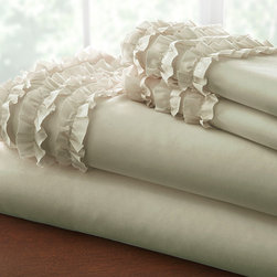 Colonial Home Textiles - Taupe Ruffle-Hem Sheet Set - Whether it's a quick catnap or an entire evening of sleep, these incredibly soft ruffled-hem sheets set will keep any family member comfortable.   Includes flat sheet, fitted sheet and two pillowcases Fits mattresses up to 14'' deep Microfiber polyester Machine wash Imported