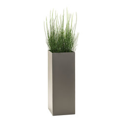 Modern Planter - Modern Tower Planter, Pewter, Large - Urban green space: this cosmopolitan tower planter allows you to grow a tiny but lush landscape on a high-rise aluminum stand. No matter what finish you choose, the end result is a simple, sophisticated and stunning addition to your environment.