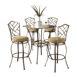 "Hillsdale Furniture - Hillsdale Brookside 5-Piece Pub Table Set with Hanover Barstool - Hillsdale Furniture's versatile bistro collection features the panache of a Pub with all comfort and convenience of full scale dining. This round bar height table is topped with a stunning 36"" glass top and can be sold with your choice of four barstools. The Marin barstool, upholstered in the always popular beige microfiber, and finished in a flecked brown, features a traditional slat back accented by a fossil stone filled diamond motif. Our Hanover barstool features a delicate lattice backed design, and boasts the same finish and fabric as the Marin. Last, our always in demand Brookside barstools are a lovely compliment to the this table as well. This ensemble offers so many choices, and is lovely as a complete collection. No need for a complete dining group, these barstools are all elegant alone as well, and would make fine additions to your kitchen or bar area."