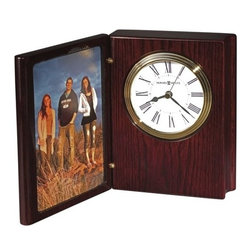 Portrait Book II Clock Rosewood Hall - This refined wooden book clock offers a folding front cover that houses a 4 x 6 photograph.