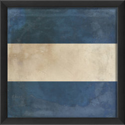 The Artwork Factory - Signal Flag J Print - Whether your interest is in International Maritime symbols or vintage flags, your inner Ship Captain will delight in this wood-framed blue and white print of Signal Flag J (for Juliet). Ready to hang and printed with 12-color pigment ink on high resolution, acid-free, fade-resistant paper, this piece comes protected behind a sheet of glass for lasting quality.