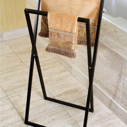 None - Pedestal Oil Rubbed Bronze Cross Style Iron Towel Rack - The pedestal cross style towel rack is perfect for smaller spaces or moving around. The collapsible design allows you to move the towel rack from room to room as needed,and can even be moved next to the pool for a stylish place to hang your towels.