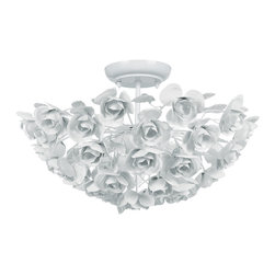 Crystorama - Cypress White Wrought Iron Rose Semi Flush Mount - Cypress White Wrought Iron Rose Semi Flush Mount