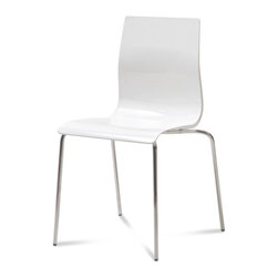 Domitalia - Gel-B Stackable Dining Chair, White (Set of 2) - -Stacking Chair