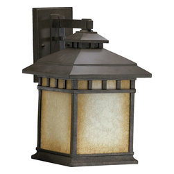 Quorum Lighting - Quorum Lighting Denmark Traditional Outdoor Wall Sconce X-54-2637 - This Mission-style Quorum Lighting Denmark Traditional Outdoor Wall Sconce is a bold and handsome piece. It has a stunning frame in a Baltic granite finish that perfectly complements the Etruscan shade with amber accents. It's an attractive, 18-inch-tall piece that will definitely cast a a warm and natural hue of light in most any space.