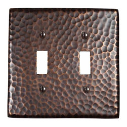 The Copper Factory - Copper Factory Copper Double Switch Plate Copper 4 7/8 x 4 7/8 Inch - Copper Factory Copper Double Switch Plate Copper 4 7/8 x 4 7/8 Inch