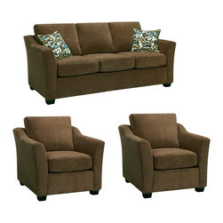 None - Larson Cocoa Brown Sofa and Two Chairs - The Larson cocoa brown sofa and two chairs are handcrafted using time-honored Old World techniques. This furniture features a premium fabric cover and a durable hardwood frame.