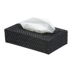 Kouboo - Rectangular Rattan Tissue Box Cover in Black - Add a little British West Indies style to your interiors with the simple addition of this tissue box cover. It's woven by hand from rattan and looks perfectly at home wherever you place it.