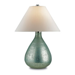 Currey and Company - Currey and Company Helene Traditional Table Lamp - Small X-6526 - Mercury glass gets a makeover as a sea blue finish offers a unique and sophisticated look for this Helene table lamp. The lamp catches the light with a bit of shimmer on its classic teardrop shaped base topped by an off-white shantung shade. The hand finishing process that is used on this lamp lends an air of depth and richness not achieved by less time-consuming methods.
