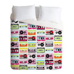 DENY Designs - Jennifer Denty Retro Cassettes Duvet Cover - Turn your basic, boring down comforter into the super stylish focal point of your bedroom. Our Luxe Duvet is made from a heavy-weight luxurious woven polyester with a 50% cotton/50% polyester cream bottom. It also includes a hidden zipper with interior corner ties to secure your comforter. It is comfy, fade-resistant, and custom printed for each and every customer. Interested in a lighter duvet option? Check out our Lightweight Duvets!