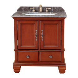 "Bosconi - 31"" Bosconi T-3645 Classic Single Vanity - This Bosconi Classic Single Vanity is a model with simple classical designs, with functionality to meet all needs. It has one large two-door cabinet and two smaller drawers, making storage and organization a breeze. It is complimented with beautiful Antique Red finish with Antique Brass hardware, solid construction, and Dark Emperador Marble countertop with matching backsplash"
