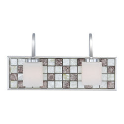 Polished Chrome And Glass Tile 2 Light Bath Wall With Led Nightlight - Condition: New - in box