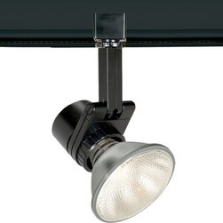 "WAC - Contemporary WAC Studio 733 L Black Track Head for Juno - Large architectural-grade spot luminaire. Black finish. Die-cast aluminum construction. Takes one maximum 50 watt PAR20 or 75 watt PAR30 bulb (not included). Lockable precision aiming with guide marks. 350-degree horizontal rotation 90-degree vertical tilt. Tool-free re-lamping. For use on Juno track lighting systems. 10 1/2"" high. 4 1/2"" wide.  Large architectural-grade spot luminaire.  Black finish.  Die-cast aluminum construction.  Takes one maximum 50 watt PAR20 or 75 watt PAR30 bulb (not included).  Lockable precision aiming with guide marks.  350-degree horizontal rotation 90-degree vertical tilt.  Tool-free re-lamping.  For use on Juno track lighting systems.  10 1/2"" high.  4 1/2"" wide."