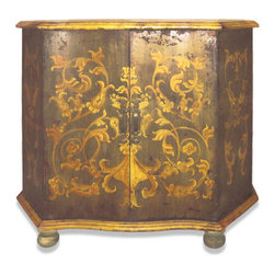 Koenig Collection - Old World Maria Buffet, Distressed Olive Green - Maria Buffet, Distressed Olive Green with Gold Scrolls