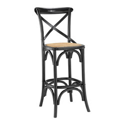 LexMod - Gear Bar Stool in Black - Evoke rustic remembrances as you sip a leisurely tea or hearty breakfast.With an open wooden backrest and tapered legs, the bar stool provides that country charm without compromising on modernity. The bar stool comes fully assembled and is a pleasant addition to country cottages, rustic environs, or any urban dweller in search of a respite.