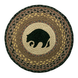 Earth Rugs - CH-99 Black Bear Round Chair Pad 15.5in. - Black Bear Round Chair Pad 15.5 in.